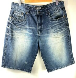DEXTER ~ Size 34 ~ Men's Blue Distressed Faded Denim Cutoff Shorts Cotton Pocket