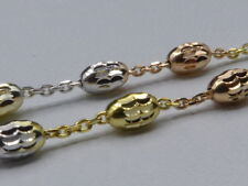 "18"" Tricolor Necklace w/Swirly Oval Beads-Gold/Rose/Sterling Silver Italy 925"