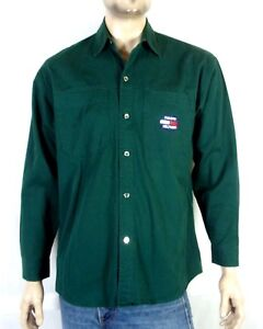 vtg 90s BOOTLEG Tommy Hilfiger Green Flag Logo Button Down Shirt metal buttons L