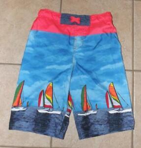 Boys XL / 16 Bright Sailboat Print Beach Pool Swim Board Shorts CAT & JACK