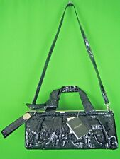 RENATO ANGI ITALY Dark Blue Embossed Patent Leather NEW Shoulder Satchel Bag