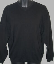 Tommy Bahama Mens Size Small Long Sleeve Solid Black Cotton V Neck Sweater