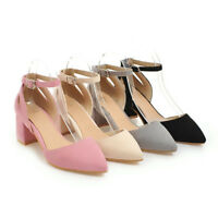 Fashion Women's Pointed Toe Mary Janes Ankle Strap High Heels Pumps Suede Shoes