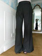 Emporio Armani black wide-leg cotton blend trousers IT size 38 UK size 6-8