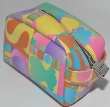 TOUS PASTEL MULTICOLOUR LEATHER & WATERPROOF CANVAS COSMETIC TOILETRY BAG CASE