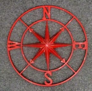 """BIG Welded Metal Compass Rose Wall Decor Hanging Brick Red * 30.5""""     $$"""
