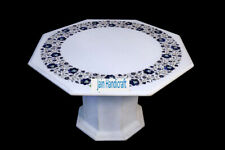 """30"""" White Marble Table Top Coffee dining Inlay Lapis Mosaic Home with stand h9"""