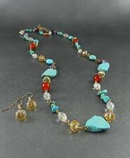 Turquoise Stone Bead And Multi Color Glass Bead Gold Tone Long Necklace earring