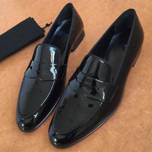 Handmade Mens Patent Leather Shoes, Men Black formal shoes moccasins Loafer