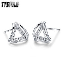 Triangle Earrings A Pair New Ttstyle Rhodium 925 Sterling Silver