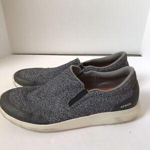 Crocs Mens Kinsale Static 203977 Gray White Slip On Shoes Sneakers Size US 13