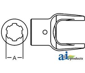 D128121 Implement Yoke Splined Bore w/ Pin Hole Fits Domestic: 12 Series