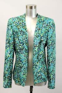 KASPER Turquoise Print Blazer Jacket Open Front MODERN Business Career Wear L 14