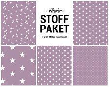 Stoffpaket flieder 5x (0,5 x 1,50m) Patchworkpaket Baumwolle Nähpaket DIY Stoffe