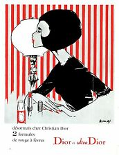 DIOR  A0 PRINT POSTER  VINTAGE ADVERT LARGE 1960 PAPER STRIPES LADY
