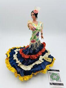 "RARE Vintage Marin Chiclana Espana Flamenco Woman Dance Multi-Color Dress 10"""
