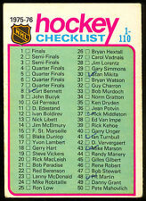 1975 76 OPC O PEE CHEE HOCKEY #99 CHECKLIST 1-110 15% MARKED VG-EX FREE SHIP USA