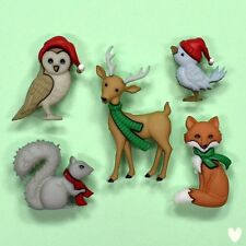 DRESS IT UP Buttons Holiday Woodland Creatures 9500 - Xmas Christmas