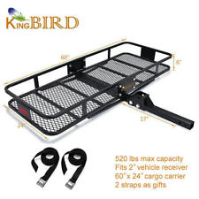"520lbs Max Capacity 60x24 Folding Cargo Carrier Luggage Rack Basket SUV 2"" Hitch"