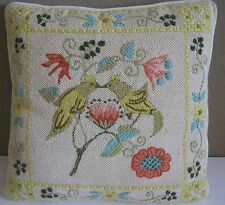 """Lovely Finished & Handstitched Love Birds Needlepoint Pillow 15""""x15"""" Yellow Back"""