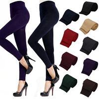 BA_ LADY WOMENS WINTER WARM SKINNY SLIM STRETCH PANTS THICK FOOTLESS LEGGINGS SU