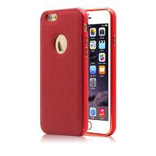 For iPhone 5 5s 6 /6 Plus Luxury GENUINE LEATHER Back Case Aluminum Bumper Cover