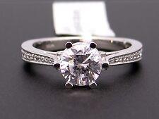 Platinum Round Diamond Halo Engagement Promise Ring Semi Mounting Size 7