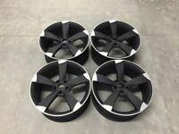 "19"" TTRS Rotor Style Alloy Wheels Matt Black Machined Audi A4 A6 A8 5x112 66.6"