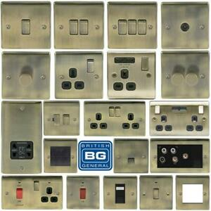 BG Nexus Metal Antique Brass Switches & Sockets Black Inserts Full Range