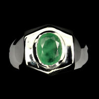 Unheated Emerald Oval 9x7mm 14k White Gold Plate 925 Sterling Silver Man Ring