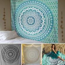 Indian Ombre Mandala Tapestry Wall Hanging Hippie Gypsy Bohemian Black Gold