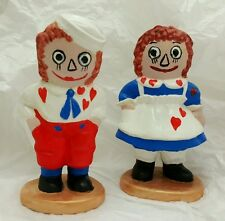 "1974 Raggedy Ann and Andy The Bobbs Merrill Co. 4"" Ceramic Figurines Rare Find"