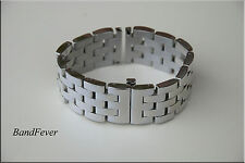 24mm Strait End SOLID Polished Stainless Steel butterfly buckle Bracelet PAM