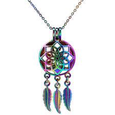 C708 Rainbow Color Dream Catcher Essential Oil Diffuser Locket Pendant Necklace