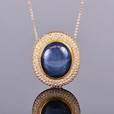 Star Sapphire Pendant with White Sapphire Halo in 18k Yellow Gold