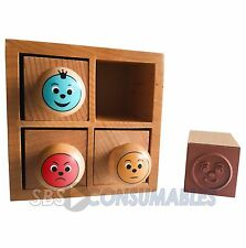 Maildor - Smiley Face Stamp Box. 4 Behaviour / Marking stamps. Wooden box set.