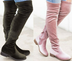 Over The Knee Faux Velvet Block Chunky Heel Round Closed Toe Slouchy Boots