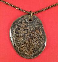 Vintage Jewellery Large Pottery Leaf Pendant Bronze Chain Necklace Retro Jewelry
