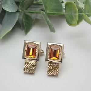 Vintage Swank Orange Crystal Gold Tone Mesh Wrap Around Cuff Links