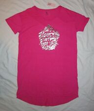 NWT Womens JUICY COUTURE Logo Nightgown / Long Sleep Shirt -size L -Pink &Silver