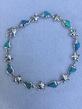 STERLING SILVER 925 & OPAL NAUTICAL MARINE SEALIFE SHELLS & STARFISH BRACELET
