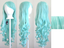 29'' Long Curly w/ Long Bangs Mint Green Cosplay Wig NEW