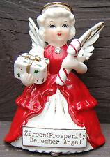 December Angel Candy Cane Zircon Christmas Ceramic Figurine Gold Vintage Japan