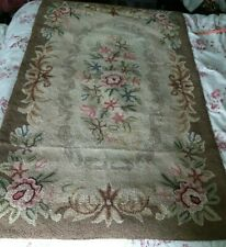 Vintage Hooked Rug 5'x3' Floral Browns Pinks Greens, Intact, Faded, Light Stains