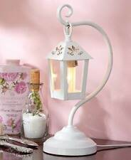 White Metal Table Lantern Lamp Country Rustic Primitive Kitchen Home Decor