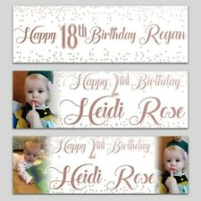 2 personalised birthday banner Photo white and Rose Gold party wedding poster