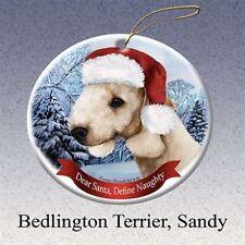 Holiday Pet Gifts Bedlington Terrier (Sandy) Santa Hat Dog Porcelain Ornament
