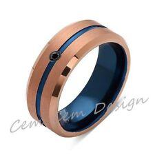 8mm,Black Diamond,Brushed Rose Gold,Blue,Tungsten Ring,Mens Wedding Band,Blue Me
