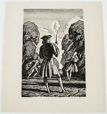 """RARE ORIGINAL ROCKWELL KENT HAND SIGNED WOOD CUT ENGRAVING """"THE DUEL"""""""