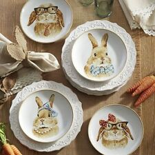 "Pier 1 Imports Easter Bunny Faces 8"" Salad Plates Set of 4 - Free Priority Ship"